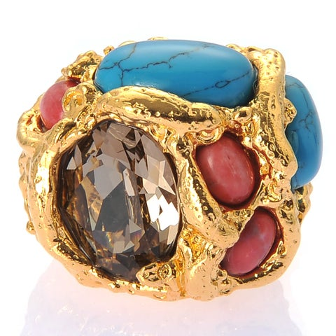 De Buman Yellow Gold Plated Or Rose Gold Plated Austrian Crystal And Turquoise Ring
