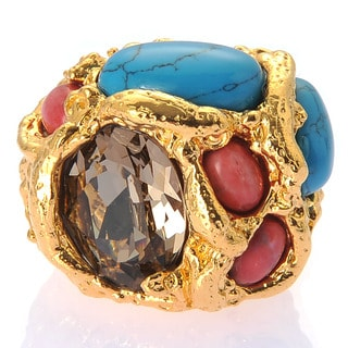 De Buman 18k Yellow Gold Plated or 18k Rose Gold Plated Austrian Crystal and Turquoise Ring