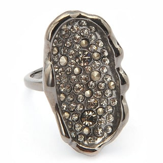 De Buman Black Gold Plated Round-cut Black Czech and Crystal Ring