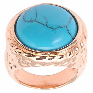 De Buman 14k Rose Gold Plated Turquoise Ring