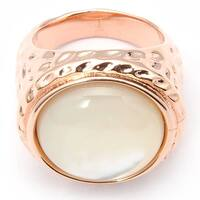 De Buman 18k Rose Gold Plated Mother of Pearl Ring