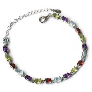 De Buman Sterling Silver Natural Multi-colored Gemstones Bracelet
