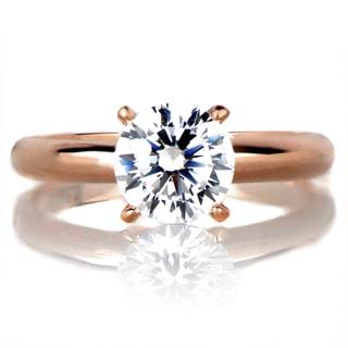 Sterling Silver Rose Goldtone Engagement Ring