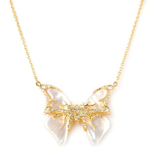 De Buman 18k Rose Gold Plated or 18k Yellow Gold Plated Mother of Pearl Butterfly Necklace