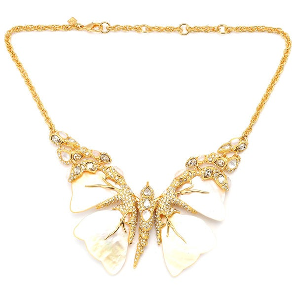 De Buman 18k Yellow Gold Plated Mother of Pearl Butterfly Necklace
