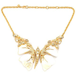 De Buman Yellow Gold Plated Mother Of Pearl Butterfly Necklace