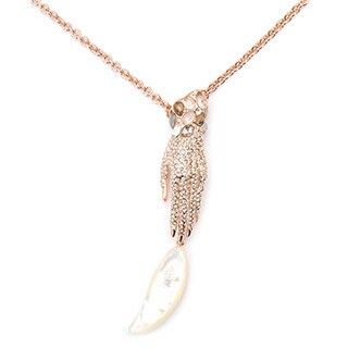 De Buman 18k Rose Gold Plated Mother of Pearl Hand Necklace