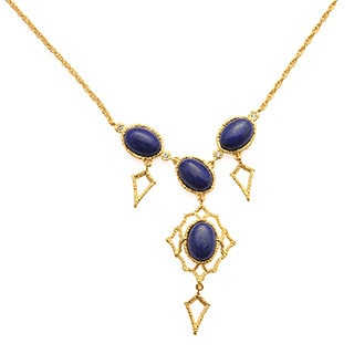 De Buman 18k Yellow Gold Plated Create Lapis Gemstone Necklace