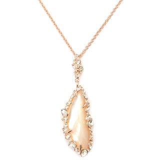 De Buman 18k Yellow Gold Plated or 18k Rose Gold Plated Mother of Pearl Gemstone Necklace