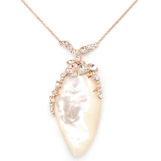 De Buman 18k Yellow Gold Plated or 18k Rose Gold Plated Mother of Pearl Necklace|https://ak1.ostkcdn.com/images/products/10015908/P17163103.jpg?impolicy=medium