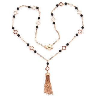 De Buman 18k Rose Gold Plated Ruby Gemstone Necklace