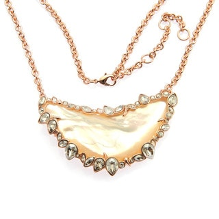 De Buman 18k Rose Gold Plated Mother of Pearl Gemstone Necklace
