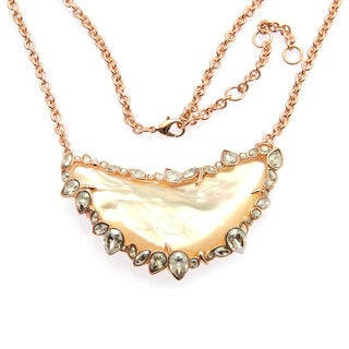 De Buman Rose Gold Plated Mother Of Pearl Gemstone Necklace