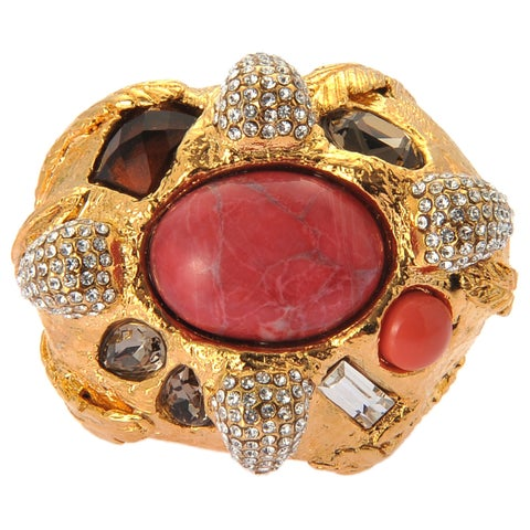 De Buman Yellow Gold Plated Red Turquoise And Crystal Ring