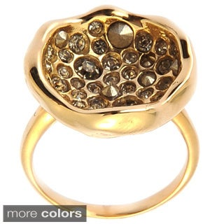 De Buman 14k Yellow Gold Plated or 14k Rose Gold Plated Crystal and Black Czech Ring
