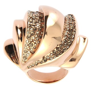 De Buman 14k Rose Gold Plated or 18k Yellow Gold Plated Crystal Ring