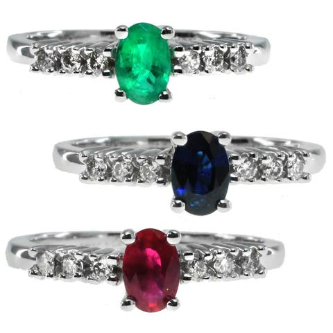 Michael Valitutti 10k White Gold Emerald Ruby or Blue Sapphire and Diamond Ring