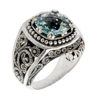 Handmade Sterling Silver 'Blue Desert Illusion' Blue Topaz Ring (Indonesia)