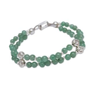 Sterling Silver 'Luck by Chance' Aventurine Bracelet (Peru)