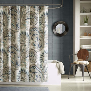 Ink+Ivy Mira Cotton Printed Blue Shower Curtain
