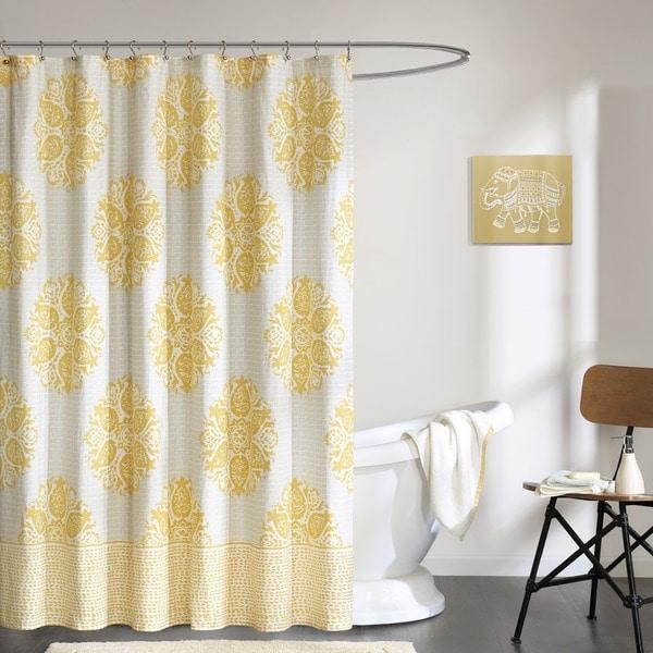 Shop Ink+Ivy Melbourne Cotton Printed Shower Curtain--2