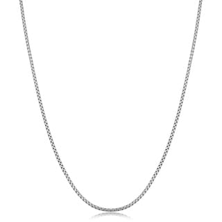Fremada Sterling Silver 1.5-mm High Polished Round Box Link Chain Necklace (18 inch)