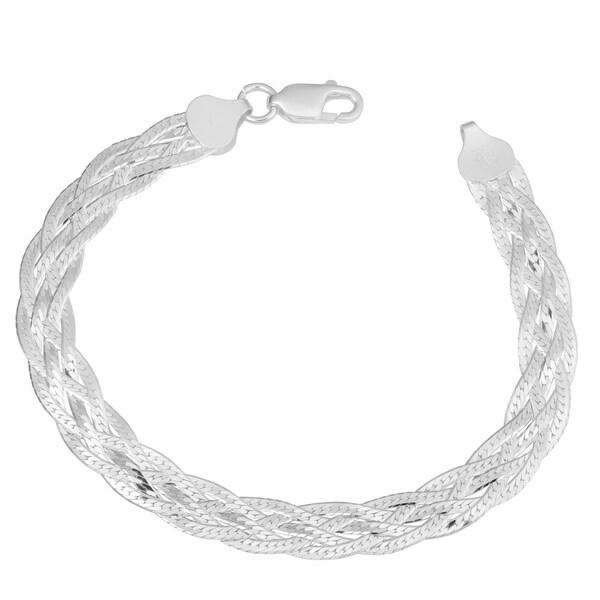 Fremada Sterling Silver High Polished Braided Herringbone Bracelet (7.5 inch). Opens flyout.