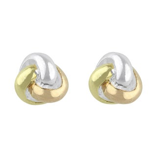 Sunstone Sterling Silver Tri-Tone Plated Knot Button Earrings