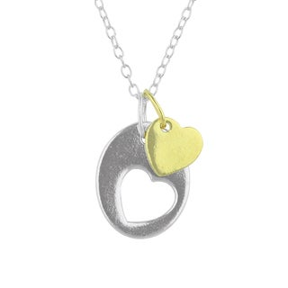 Sunstone Sterling Silver Two-Tone Heart Cutout Pendant Necklace
