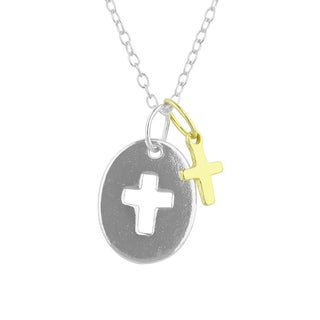 Sunstone Sterling Silver Two-Tone Cross Cutout Pendant Necklace