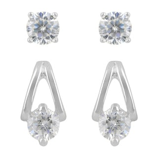 Sunstone Sterling Silver Cubic Zirconia 2-Pair Earrings Set with Gift Box