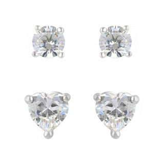 Sunstone Sterling Silver Cubic Zirconia 2-Pair Stud Earrings Set with Gift Box