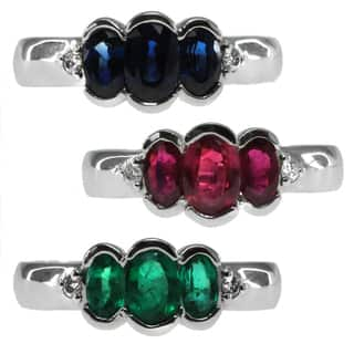 Michael Valitutti 14k White Gold Ruby Emerald or Blue Sapphire Three Stone and Diamond Ring|https://ak1.ostkcdn.com/images/products/10016999/P17164076.jpg?impolicy=medium