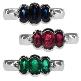Michael Valitutti 14k White Gold Ruby Emerald or Blue Sapphire Three Stone and Diamond Ring