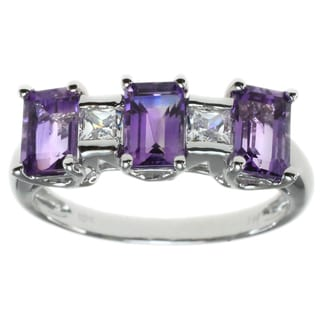 Michael Valitutti 10k White Gold Cubic Zirconia and Amethyst Ring