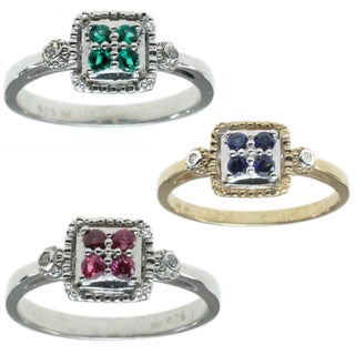 Michael Valitutti 14k Gold with Choice of Emerald, Blue Sapphire, Ruby Ring
