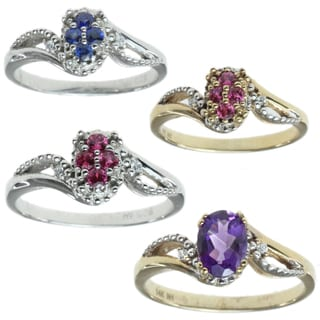 Michael Valitutti 14k Gold Ring With Chioce Of Ruby, Amethyst, Blue Sapphire