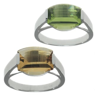 Michael Valitutti 10k White Gold Ring With Choice of Green Amethyst or Citrine