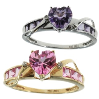Michael Valitutti 10k White/ 14Kyellow Gold Ring Choice of Yellow with Pink Sapphire or White Gold w (Option: September)