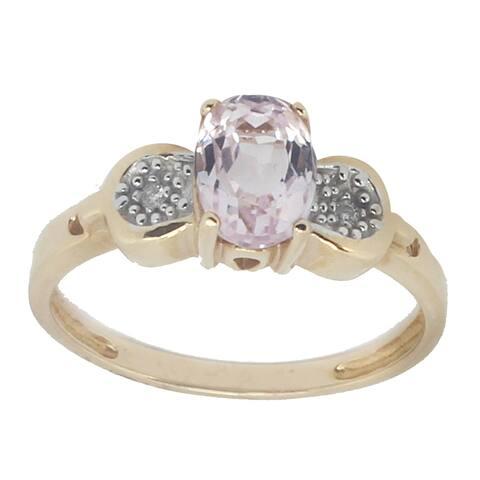 Gems en Vogue 14k Yellow Gold Kunzite & Diamond Ring