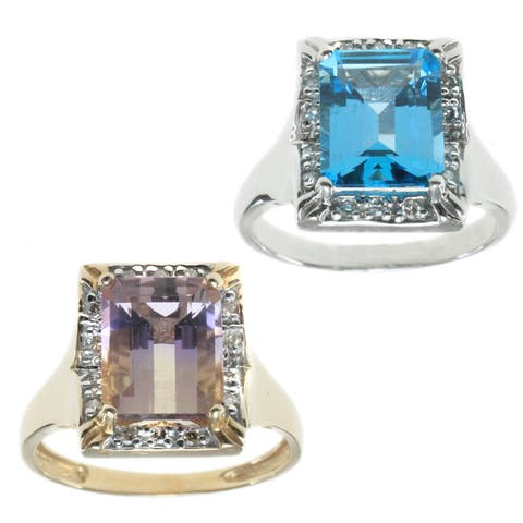 Michael Valitutti 14k Yellow/White Gold Ring Choice of Blue Topaz or Amethyst Gemstone