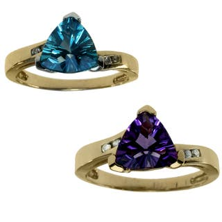 Michael Valitutti 14k Yellow Gold Amethyst or 10k Yellow Gold Blue Topaz And Diamond Ring