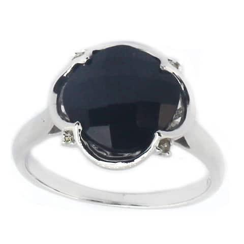 Michael Valitutti 14k White Gold Black Onyx & Diamond Ring