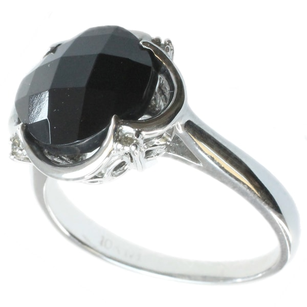 Michael Valitutti 14k White Gold Black Onyx Diamond Ring