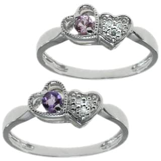 Michael Valitutti 14k White Gold Heart Ring Choice of Pink Sapphire or Amethyst with Diamonds|https://ak1.ostkcdn.com/images/products/10017023/P17164098.jpg?impolicy=medium