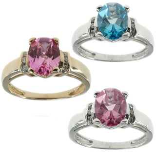 Michael Valitutti 14K Diamond and Gemstone Ring Sky Blue Topaz and White Gold or Pink Topaz in Yello