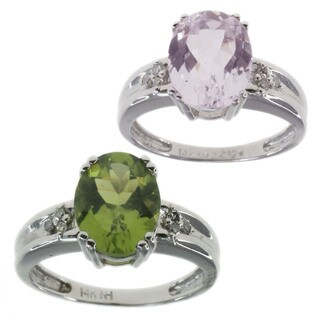 Michael Valitutti 14K White Gold Peridot or White Sapphire and Diamond Ring