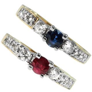 Michael Valitutti 14k Yellow Gold Ruby or Blue Sapphire and Diamond Ring