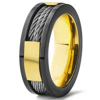 Men's Black and Gold Plated Stainless Steel Cable Inlay Band Ring