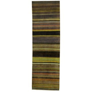 Herat Oriental Indo Hand-knotted Tribal Tibetan Brown/ Beige Wool Rug (2'5 x 8')